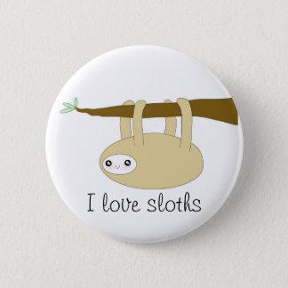 Kawaii cute sloth button - I love sloths
