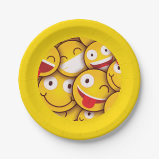 Kawaii Cute Smiley Emoji Emoticon. Paper Plate