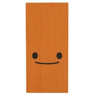 Kawaii Cute Smiley Happy Face Wood USB 2.0 Flash Drive