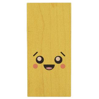 Kawaii Cute Smiley Sad Face Wood USB 2.0 Flash Drive