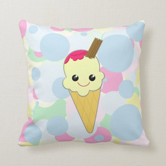 Kawaii Cute Waffle Ice Cream Cone Child S Pillow Zazzle