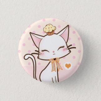 Kawaii cute white cat with cupcake 3 cm round badge