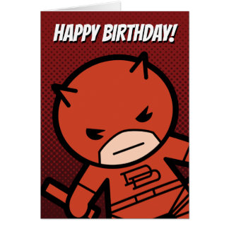 Kawaii Daredevil With Paired Short Sticks Card