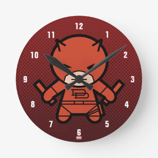 Kawaii Daredevil With Paired Short Sticks Round Clock