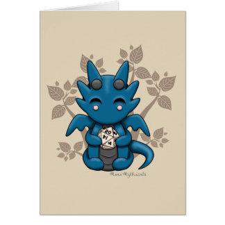 Kawaii Dice Dragon Blank Greeting Card