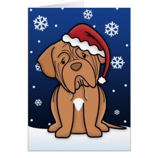 Kawaii Dogue de Bordeaux Christmas Card
