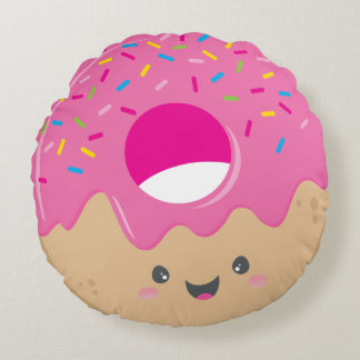 KAWAII DONUT DELIGHT bold colorful sweet sprinkles Round Cushion