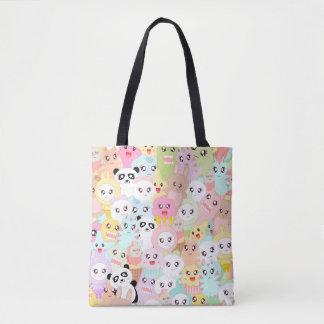 kawaii doodle pattern tote bag
