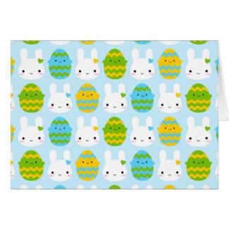 Kawaii Easter Bunny & Eggs Card