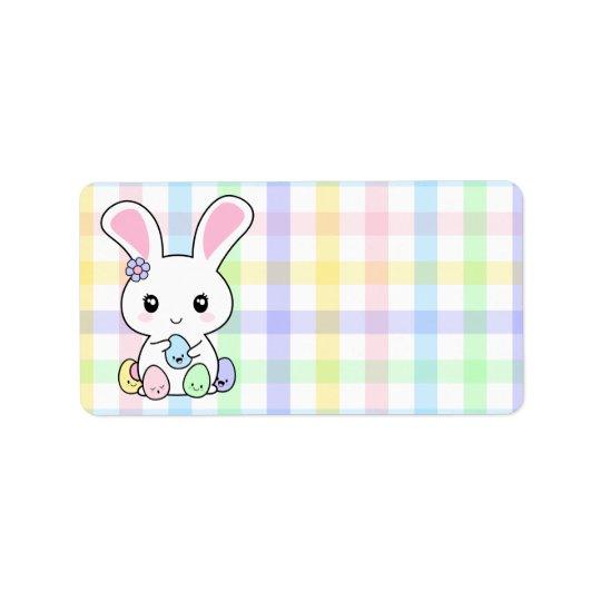 Kawaii Easter Bunny Label