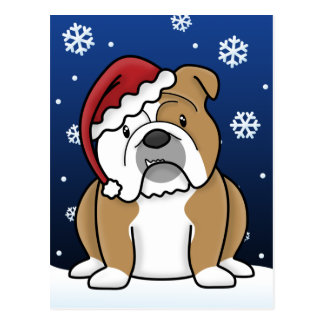 Kawaii English Bulldog Christmas Postcard
