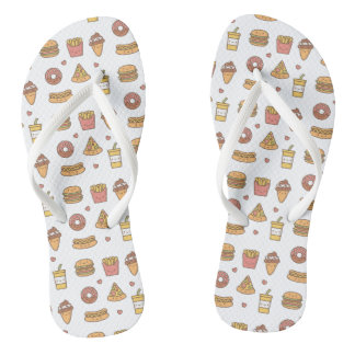 Kawaii Fast Food Doodles Girls Flip Floops Thongs