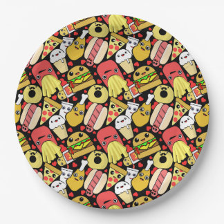 Kawaii Fast Foodie Characters Pattern 9 Inch Paper Plate