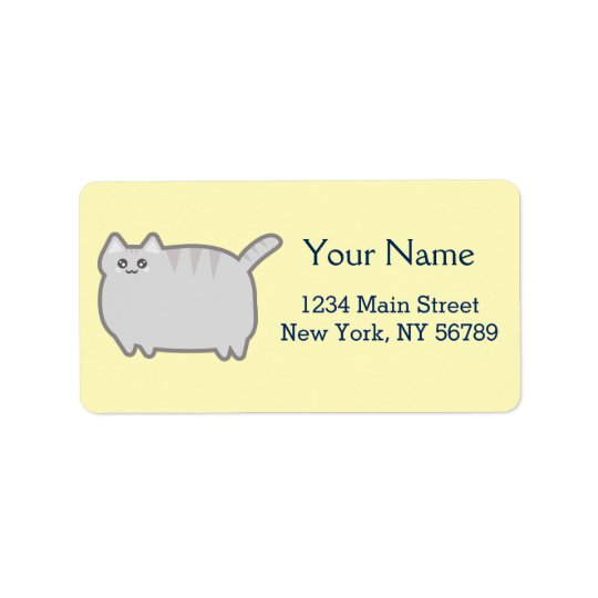 Kawaii Fat Cat Address Label
