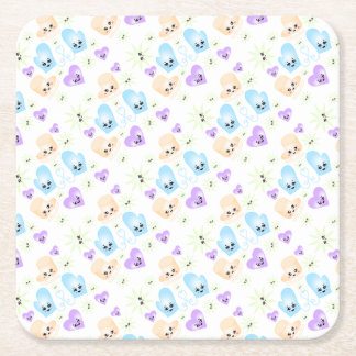 Kawaii Figure Skate Birthday Party Square Paper Coaster