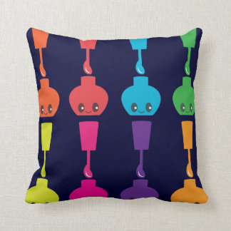 Kawaii Fingernail Polish Throw Pillow