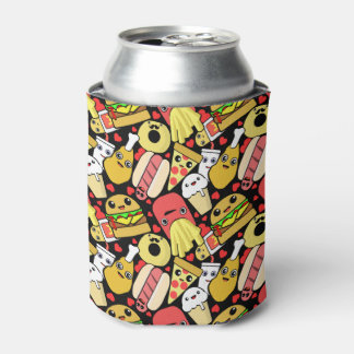 Kawaii Food Characters Patterned Can Cooler