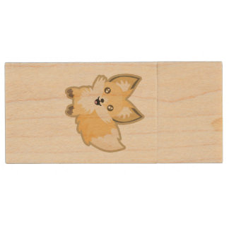 Kawaii Fox Wood USB Flash Drive