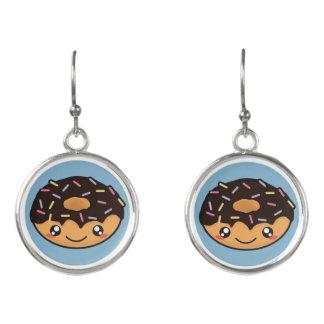 Kawaii, fun and funny blue donut earrings