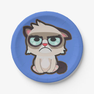 Kawaii, fun and funny grimmy cat paper plate