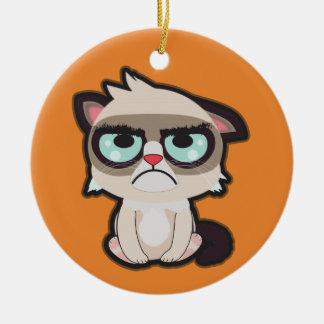 Kawaii, fun and funny grimmy cat round ornamnet ceramic ornament