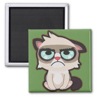 Kawaii, fun and funny grimmy cat square magnet