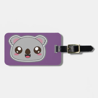 Kawaii, fun and funny koala purple luggage tag