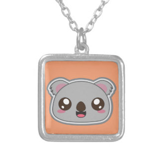 Kawaii, fun and funny koala square necklace