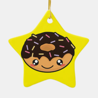 Kawaii funny and cool donut ceramic ornament