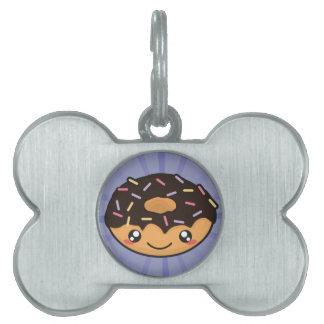 Kawaii funny and cool donut pet name tag