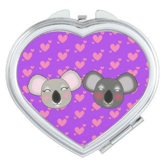 Kawaii funny koalas in love compact mirror