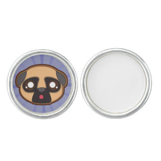 Kawaii funny pug cufflink cuff links