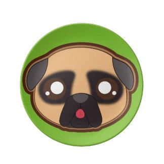 Kawaii funny pug plate