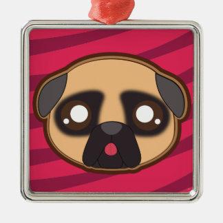 Kawaii funny pug square ornament