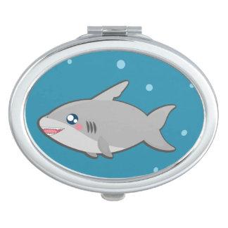 Kawaii funny sharky compact mirror
