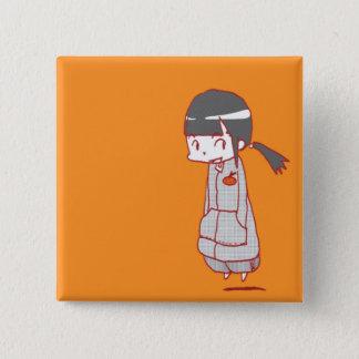 kawaii girl 15 cm square badge