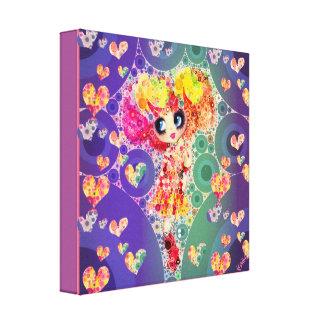 Kawaii Girl PinkyP wallart Harajuku Rainbow Art Stretched Canvas Print
