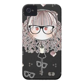 Kawaii Glasses Doll Iphone Case (Black Version)