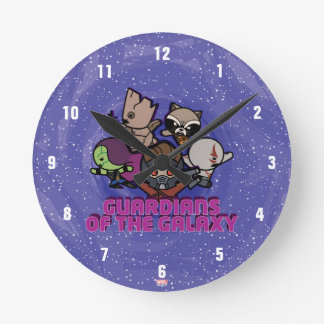 Kawaii Guardians of the Galaxy Swirl Graphic Round Clock
