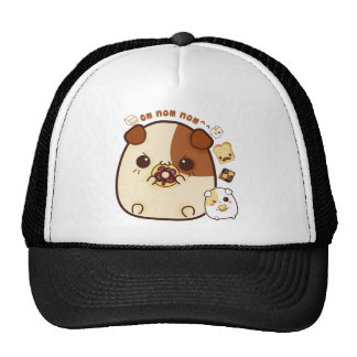 Kawaii guinea pigs with cute bread and biscuits cap