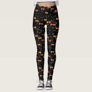 Kawaii Halloween Orange Bow Tie Watercolor Dots Leggings