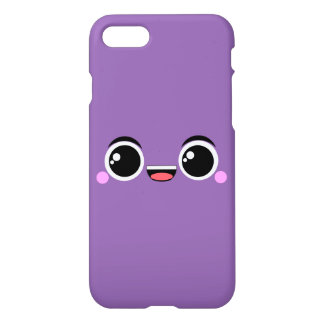 Kawaii Happy Anime Faced Purple iPhone 7 Case
