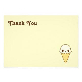 Kawaii Happy vanilla Ice cream cone Invitations
