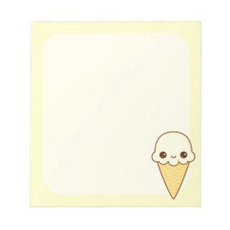Kawaii Happy vanilla Ice cream cone Memo Notepad