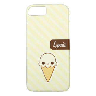 Kawaii Happy vanilla Ice cream cone personlized iPhone 8/7 Case