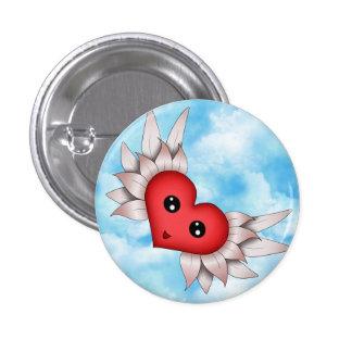 Kawaii Heart On Silver Wings 3 Cm Round Badge