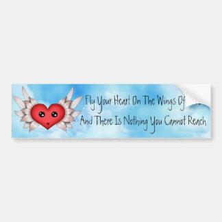 Kawaii Heart On Silver Wings Bumper Sticker