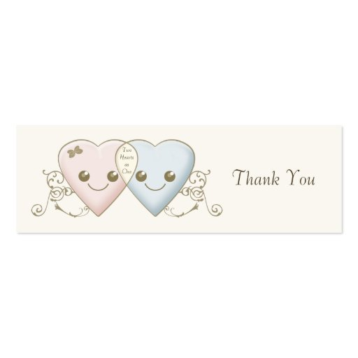 Kawaii Hearts Entwined Wedding Favor / Favour Tag Business Card Templates