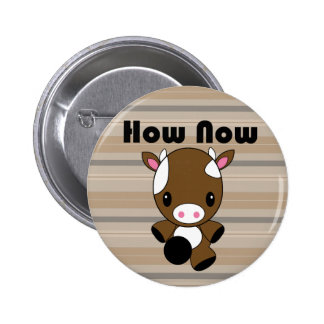 Kawaii How Now Brown Cow button