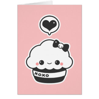 Kawaii Hugs and Kisses Cupcake Card